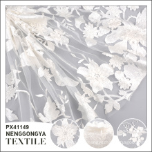 Custom logo Different kinds of elegant polyester white 3d flower lace