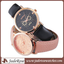 Fashion Women′s Watch Alloy Watch with Leather Strap