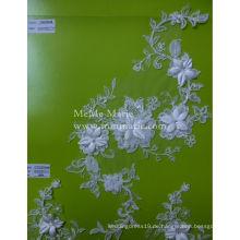 Weißes Tulle-Spitze-Gewebe für Hochzeits-Kleid 3D Stickerei-Spitze-Gewebe CMC063AB