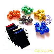 Bescon Assorted Colored Marble RPG Dice Set
