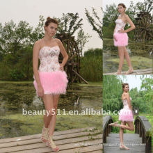 Astergarden Real Photo Pink Beading Short Strapless Feather Dress AS140