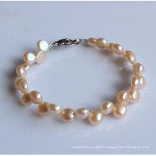 2 Rows Fashion Coin Freshwater Pearl Bracelet (EB1520-1)