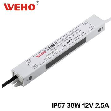 Fuente de alimentación de 30W 12V 24V impermeable IP67 LED