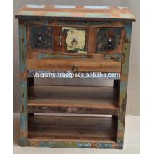 Armário de gaveta de madeira reciclada