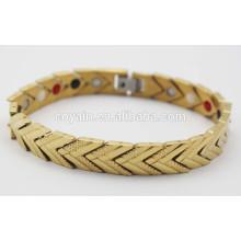 Germânio infravermelho Ray Negativo Ions equilíbrio poder Engergy Saudável pulseiras 18k banhado a ouro magnético mulheres bracelete pulseira