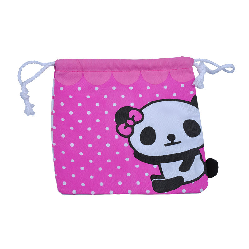 panda Printed Muslin Drawstring Cotton Bag