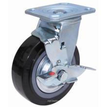 Roulette pivotante PU avec frein latéral (noir)