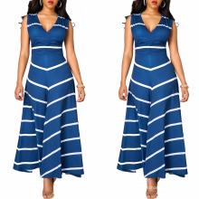 Arbeiten Sie Sommerfrauen neue vorbildliche Mädchenparty-Streifenmädchen, die sleeveless Kleid des Chevron-Streifens drucken
