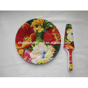 Plato de cena de cerámica fina con calcomanía completa