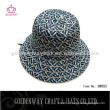 Ladies Short Brim Paille Cloche Chapeau couleur foncée pour l'été