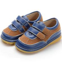 Navy Brown Wildleder Haken & Loop Quietschen Schuhe Boy