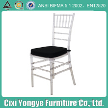 Crystal Stacking Resin Chiavari Chair with Black Seat Pad