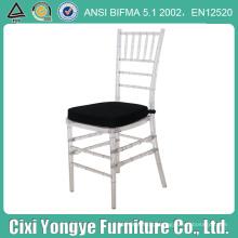 Cadeira de cristal para empilhamento de resina Chiavari com assento preto
