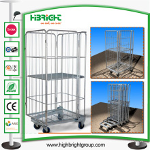Cage pliable de stockage en métal de fil d'entrepôt