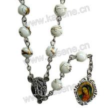 6mm Backen Lackiertes Weißglas Rosenkranz, religiöser katholischer Rosenkranz