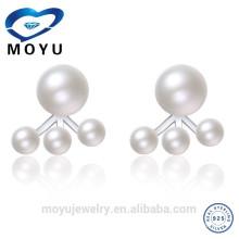 Moda de agua dulce de gran perla doble cara perla pendiente