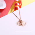 Heart Shape Rose Gold Plated Stone Women Necklace