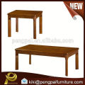 2015 new modern wooden long and short coffee table with solid wood legs