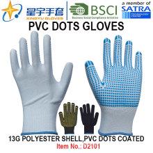 Рабочие перчатки, 13G полиэфирные оболочки ПВХ-точки с покрытием перчатки (D3101) с CE, En420