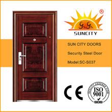 Security Steel Door Single Door Wrought Iron Door Price (SC-S037)