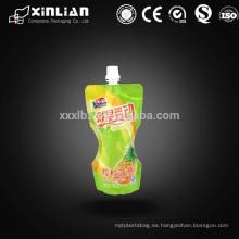 Impresión personalizada resellable stand up bolsa de jugo