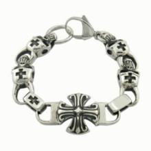 2015 moda jóias de aço inoxidável identificação cruz homens pulseira