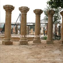 Coluna de escultura de pedra de mármore amarelo arenito (SY-C007)