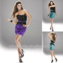 Chic Strapless Waistband Feather Mini vestido de graduação Rhinestone curto vestido Homecoming