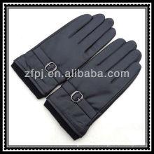Herren Strick elastische Handgelenk Leder Handschuhe mit Agraffe