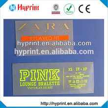 2015 quente primeira classe personalizada calor transferência film(label) na garment(cloth), atacado direto de fábrica