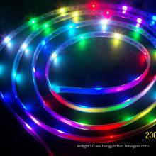 DMX RGB 14 píxeles / m 2400k caliente blanco llevó tira de iluminación
