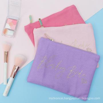 Fashion small gold screen print tote makeup cosmetic bag