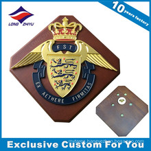 Wood Wall Shield with Crown Wood Trophy