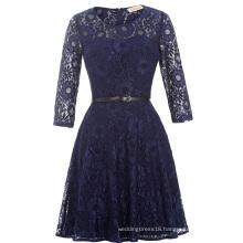 Kate Kasin 3/4 Sleeve Round Neck Short Navy Lace Prom Dress KK000205-1