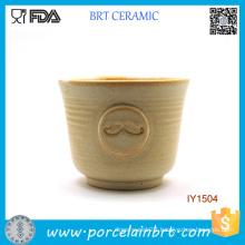Wholesale Cute Mustache Pattern Ceramic Shaving Bowl