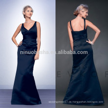 Billig 2014 Navy Blue Lange Meerjungfrau Brautjungfer Kleid V-Ausschnitt in voller Länge Satin Prom Abendkleid mit Pleats Großhandel China NB0724