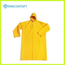 Водонепроницаемый желтый PVC полиэфира безопасности длинный плащ РПП-017