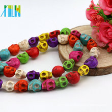 Factory Sales M0008 Mix Color Skull Shape Tibetan Turquoise Stone Necklace Iran Turquoise Gemstone Synthetic Turquoise Drop