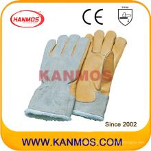 La vaca del grano completa de la palma de la boa de piel Forro de invierno Guante Industrial Seguridad en el Trabajo (12307)