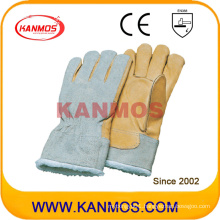Cow Grain Palm Full Boa Lining Winter Leather Industrial Safety Work Glove (12307)