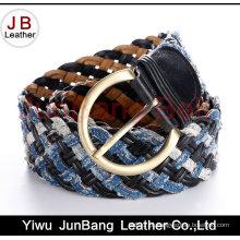 Cinto de trança de couro de moda Ladie com material denim