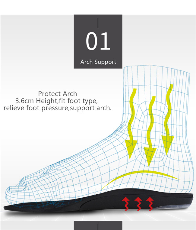 The arch support of the insole is displayed