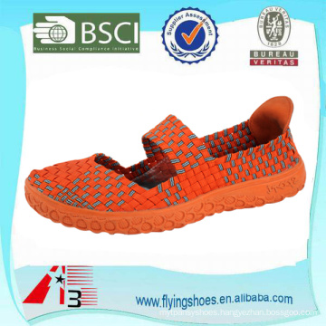 china factory women handmade woven weave shoes with strap