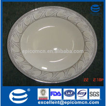 """10.5""""/27cm new bone china porcelain dinner plates with silver prints at the edge of the plate"""