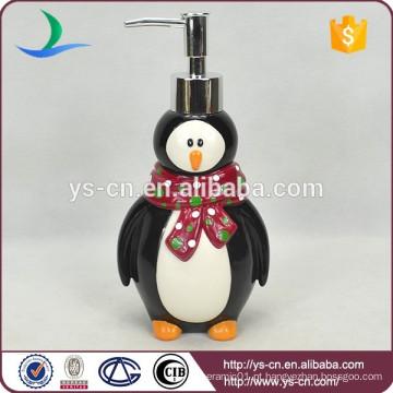 Acessórios de banho de pinguim de cerâmica Lotion Dispenser Penguin Shape