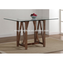 Unique wooden base glass top dining table for sale XYN1518