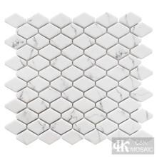 Snow White Printing Elongated Hexagon Glass Mosaic