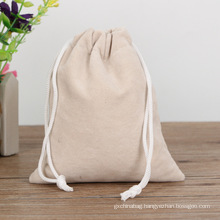 Wholesale promotional eco friendly custom print logo plain canvas drawstring bag cotton personalized canvas bags