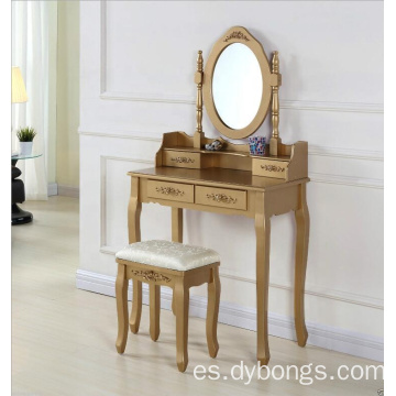 4 drawers wooden white dressing table with mirror and stool