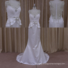 2015 Sexy Brilliant Crystal Modest Lace Wedding Dress